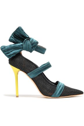 MALONE SOULIERS x EMANUEL UNGARO + Emanuel Ungaro bow-detailed mesh and satin pumps