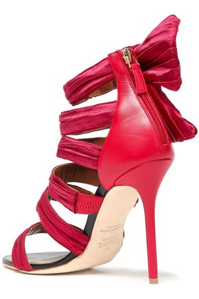MALONE SOULIERS x EMANUEL UNGARO Joan leather-paneled knotted satin sandals