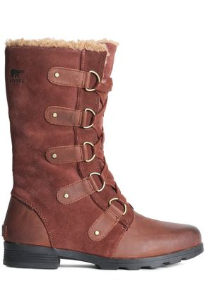 SOREL Leather-paneled suede snow boots
