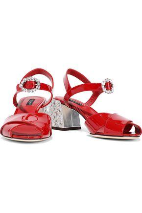 DOLCE & GABBANA Crystal-embellished patent-leather sandals