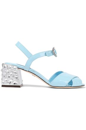 DOLCE & GABBANA Crystal-embellished patent-leather sandals
