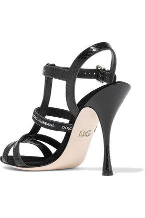 DOLCE & GABBANA Keira monogram-trimmed ayers sandals