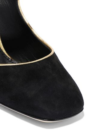 DOLCE & GABBANA Crystal-embellished suede Mary Jane pumps