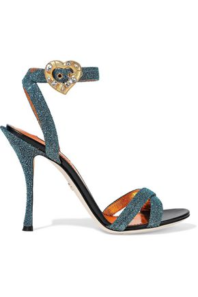 DOLCE & GABBANA Keira buckle-detailed Lurex sandals