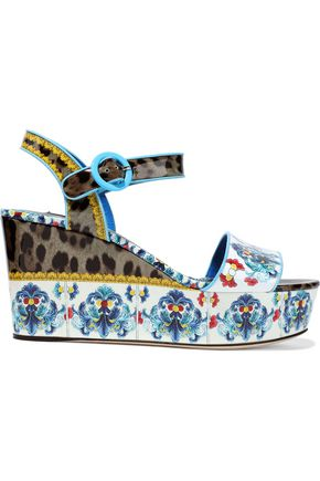 DOLCE & GABBANA Bianca printed patent-leather wedge sandals