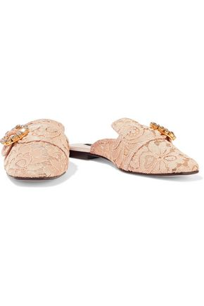 DOLCE & GABBANA Jackie buckled corded lace slippers