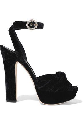 DOLCE & GABBANA Bianca knotted velvet platform sandals
