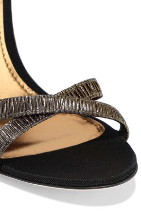 DOLCE & GABBANA Keira crystal-embellished pleated lamé sandals