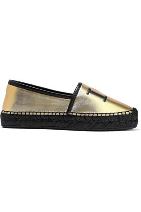 DOLCE & GABBANA Printed metallic leather espadrilles