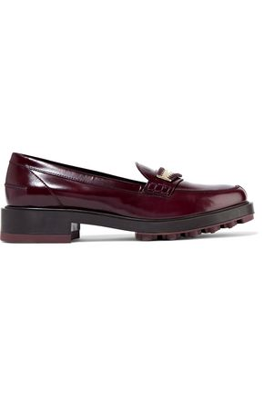 TOD'S Embellished glossed-leather loafers