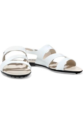 Tod's Woman Cutout Patent-Leather Sandals White