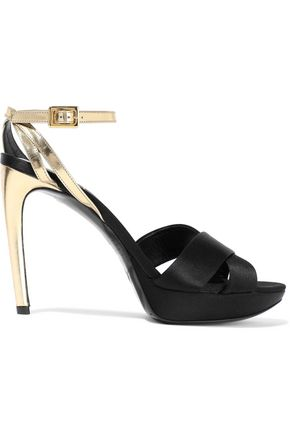 ROGER VIVIER Plateau 105 metallic leather and satin platform sandals