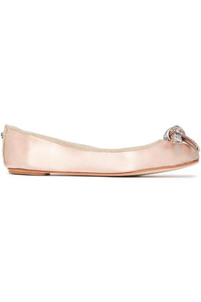 KATE SPADE New York Crystal and bow-embellished satin ballet flats