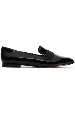 KATE SPADE New York Corina grosgrain-trimmed patent-leather loafers