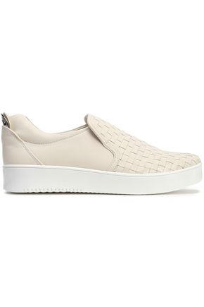 DKNY Abel woven and textured-leather slip-on sneakers