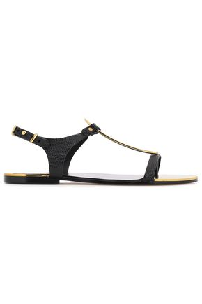 DKNY Embellished snake-effect leather sandals