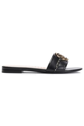 ROBERTO CAVALLI Embellished leather slides