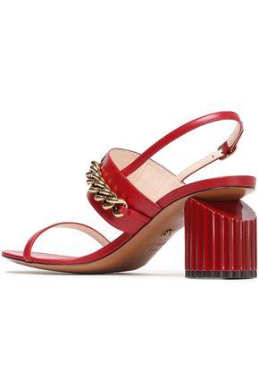 ROBERTO CAVALLI Logo-embellished leather slingback sandals