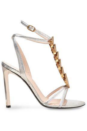 ROBERTO CAVALLI Embellished snake-effect leather sandals