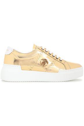 ROBERTO CAVALLI Appliquéd metallic cracked-leather platform sneakers