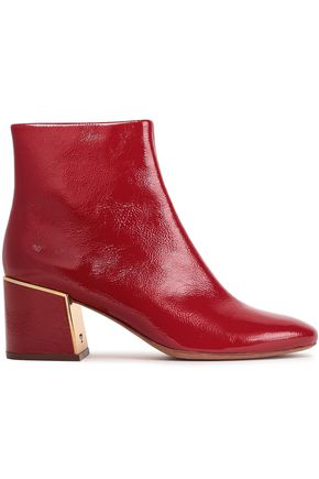 TORY BURCH Patent cracked-leather ankle boots