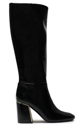 TORY BURCH Juliana metallic-paneled patent-leather knee boots