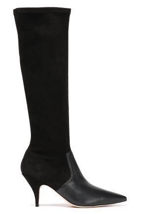 TORY BURCH Georgina 80mm stretch-suede and leather-paneled knee boots