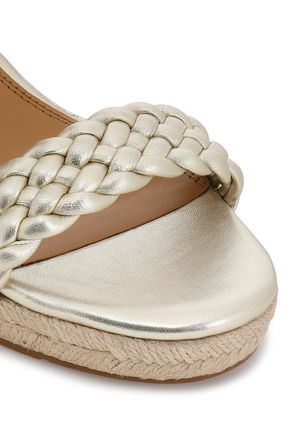 TORY BURCH Bailey braided metallic leather wedge espadrilles