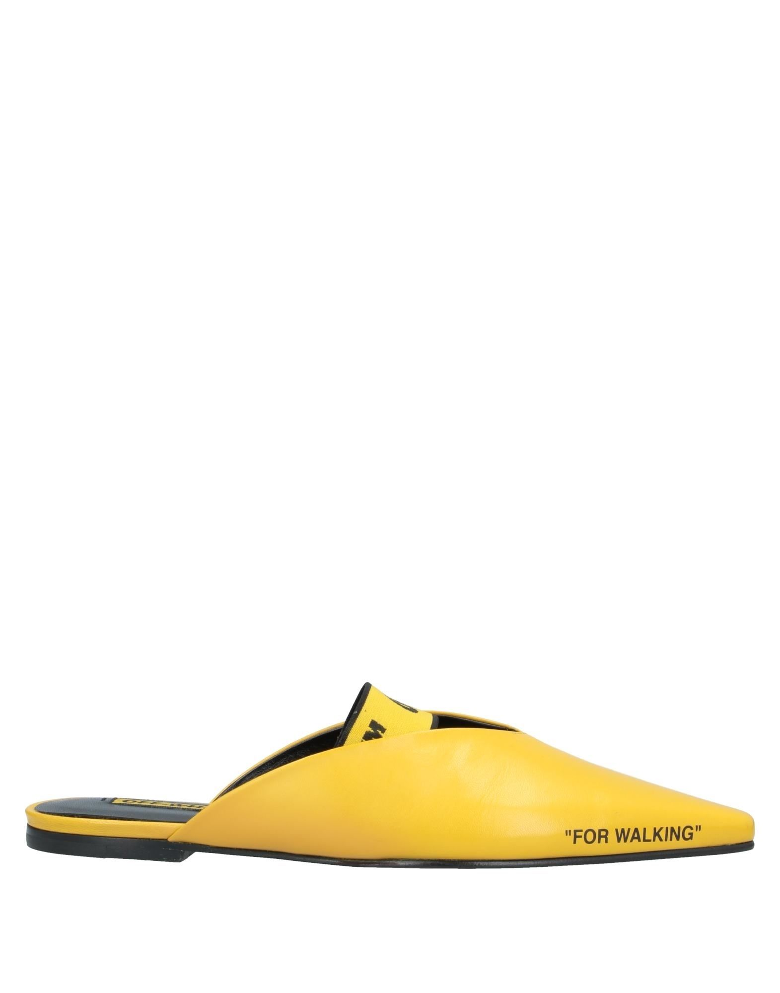 OFF-WHITE™ Mules. leather, detachable application, logo, solid color, narrow toeline, flat, leather lining, leather sole, contains non-textile parts of animal origin, small sized. Soft Leather, Stretch fibers