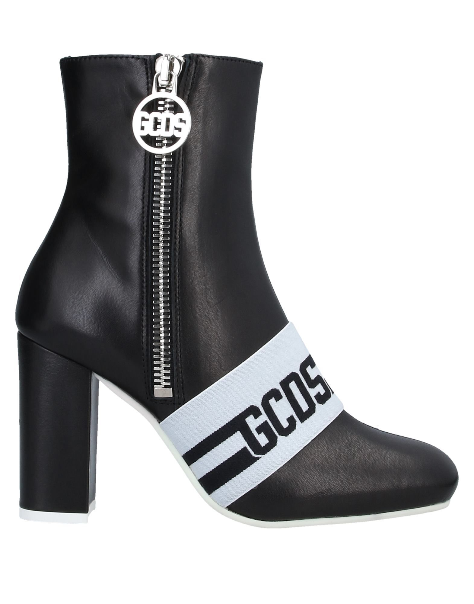 GCDS Ankle boots. logo, two-tone, square toeline, square heel, leather lining, rubber cleated sole, contains non-textile parts of animal origin. Soft Leather