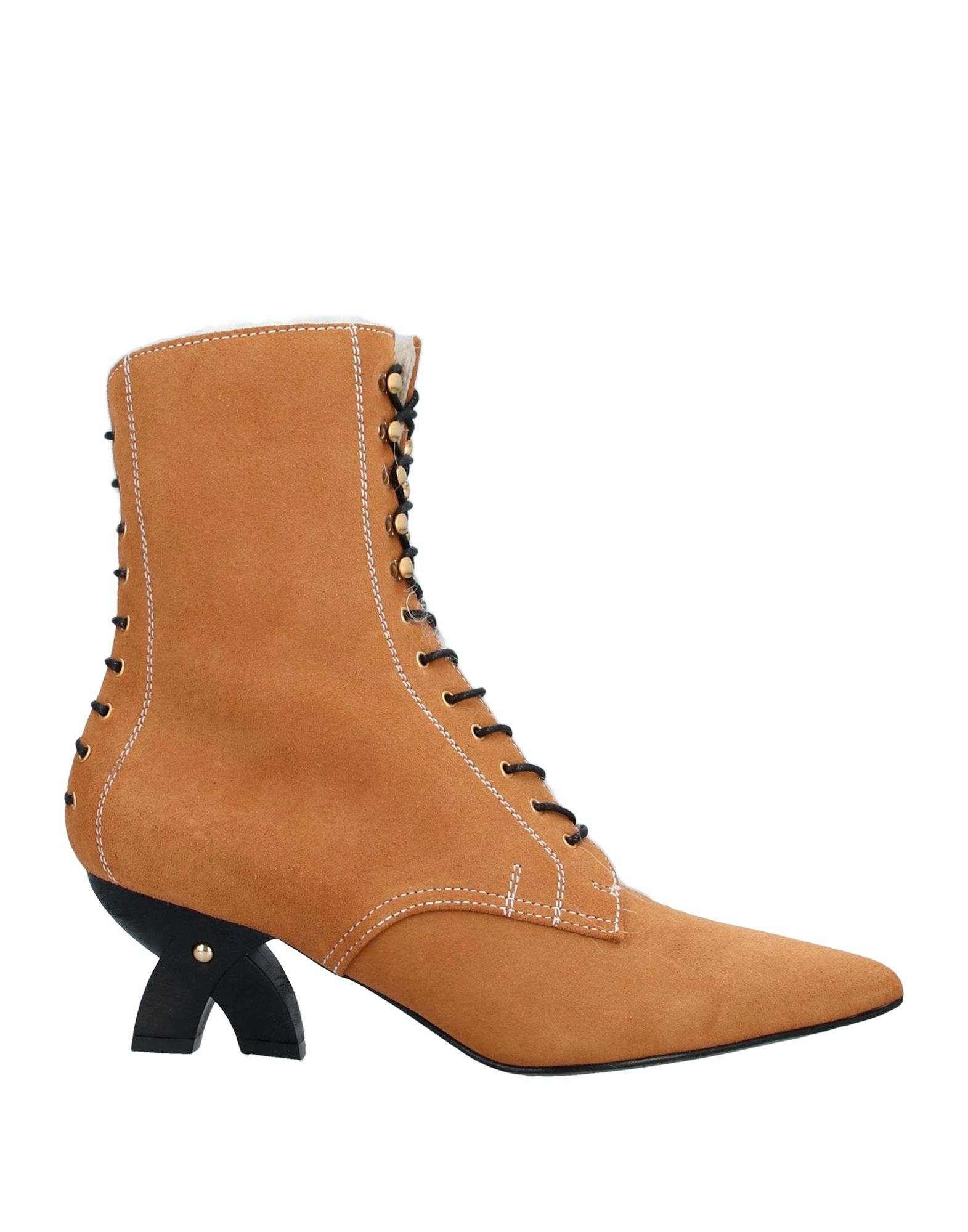 LOEWE Ankle boots. no appliqués, solid color, laces, narrow toeline, sculpted heel, lined in hair, leather sole, contains non-textile parts of animal origin. Shearling