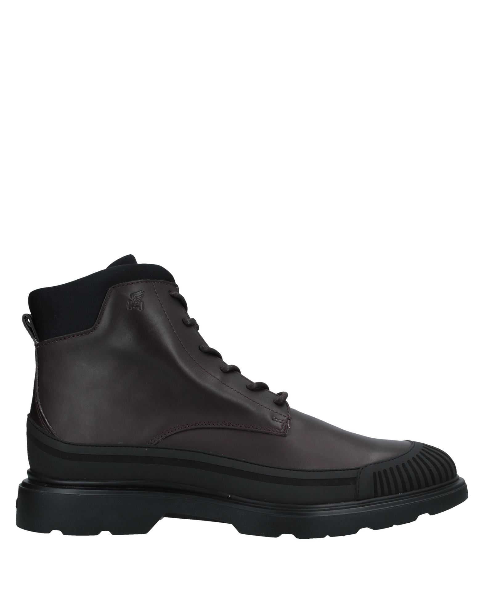 HOGAN Ankle boots. leather, logo, two-tone, laces, round toeline, square heel, fully lined, rubber cleated sole, contains non-textile parts of animal origin, large sized. Soft Leather