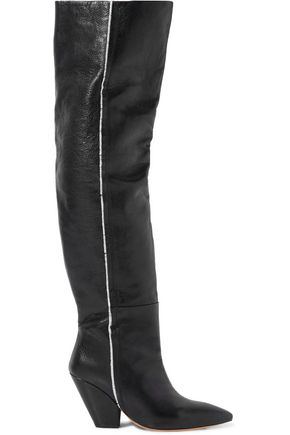 IRO Liam fringe-trimmed pebbled-leather knee boots