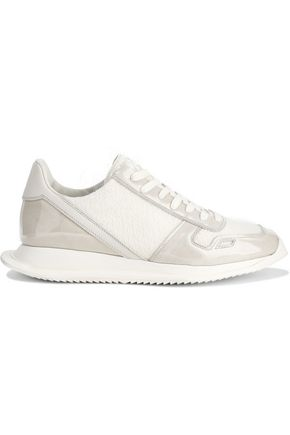 RICK OWENS Coated suede-paneled leather-trimmed frayed woven sneakers