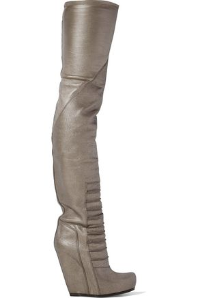 RICK OWENS Ruhlmann metallic textured-leather wedge thigh boots