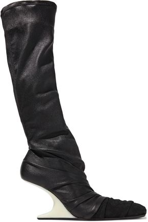 RICK OWENS Suede-paneled gathered stretch-leather wedge sock boots