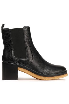 TORY BURCH Textured-leather ankle boots