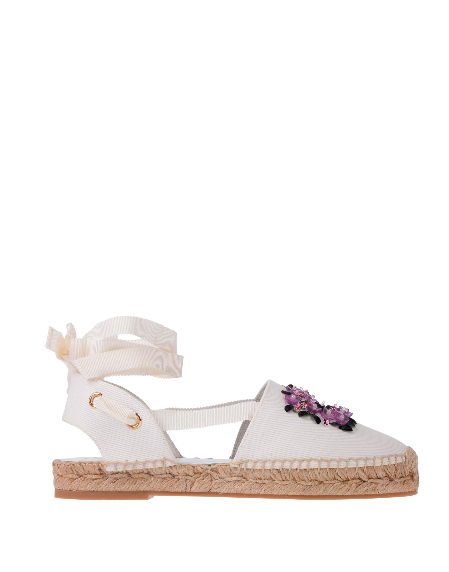 ROGER VIVIER Espadrilles. beads, solid color, wrapping straps closure, round toeline, flatform, rope heel, leather lining, rubber sole, contains non-textile parts of animal origin. Textile fibers