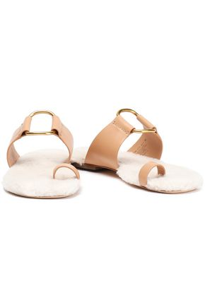TORY BURCH Shearling-lined leather sandals