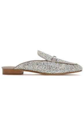 TORY BURCH Glittered leather slippers