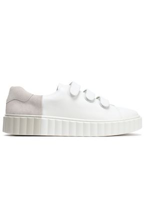 TORY BURCH Two-tone leather and suede sneakers