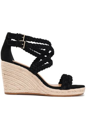 TORY BURCH Braided suede wedge espadrille sandals