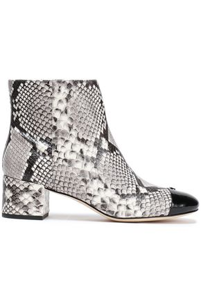TORY BURCH Snake-print and patent-leather ankle boots