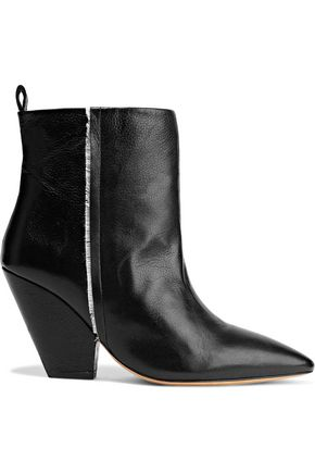 IRO Landy frayed textured-leather ankle boots