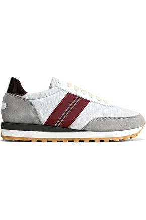 BRUNELLO CUCINELLI Embellished patent-leather, suede and slub jersey sneakers