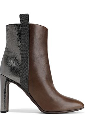 BRUNELLO CUCINELLI Bead-embellished smooth and metallic cracked-leather ankle boots