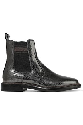 BRUNELLO CUCINELLI Metallic cracked-leather ankle boots
