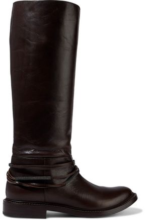 BRUNELLO CUCINELLI Bead-embellished leather boots