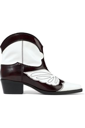 GANNI Meg glossed-leather ankle boots