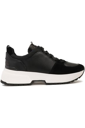 MICHAEL MICHAEL KORS Suede-trimmed leather sneakers